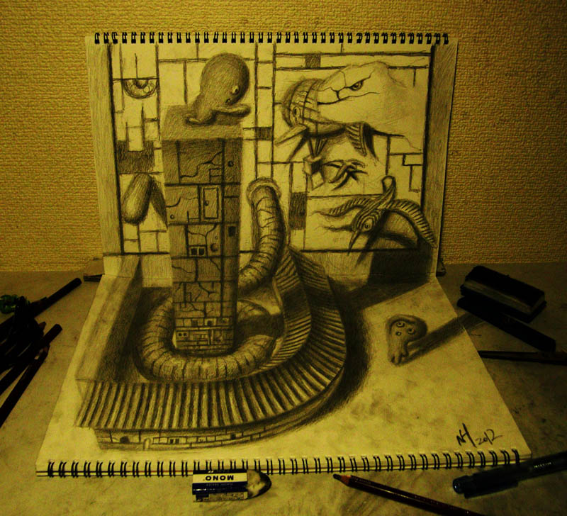 head on perspective of 3d pencil art two sketchbooks perpendicular