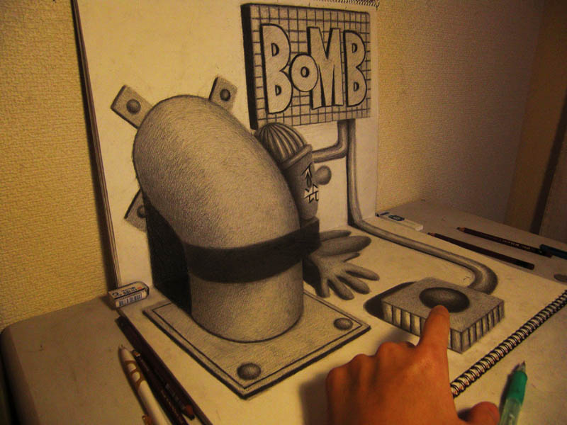 3d art using just a pencil and paper with artists hand to reference