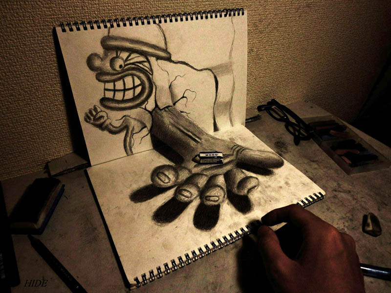 3d art with pencil looks like hand is reaching out to offer you something with actual object placed in hand