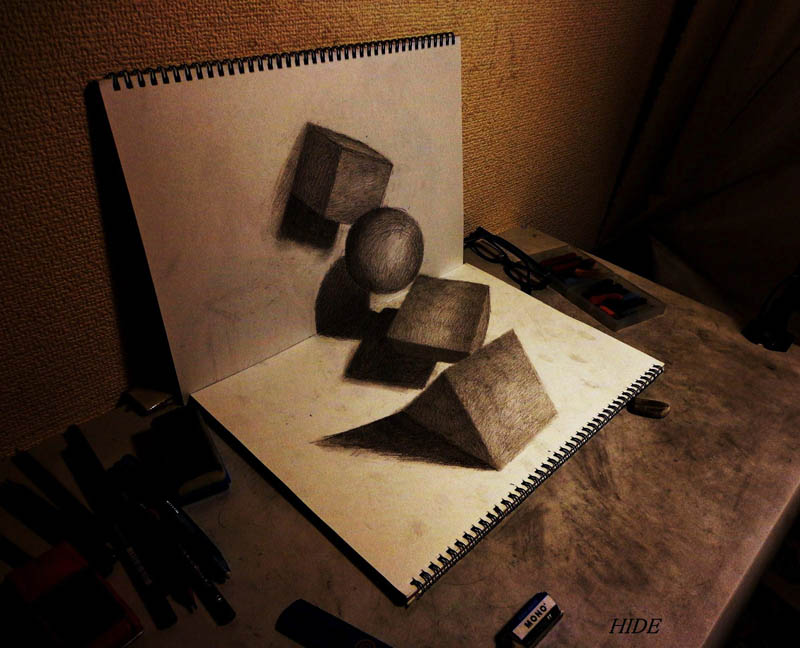 drawing various shapes to look 3d on paper