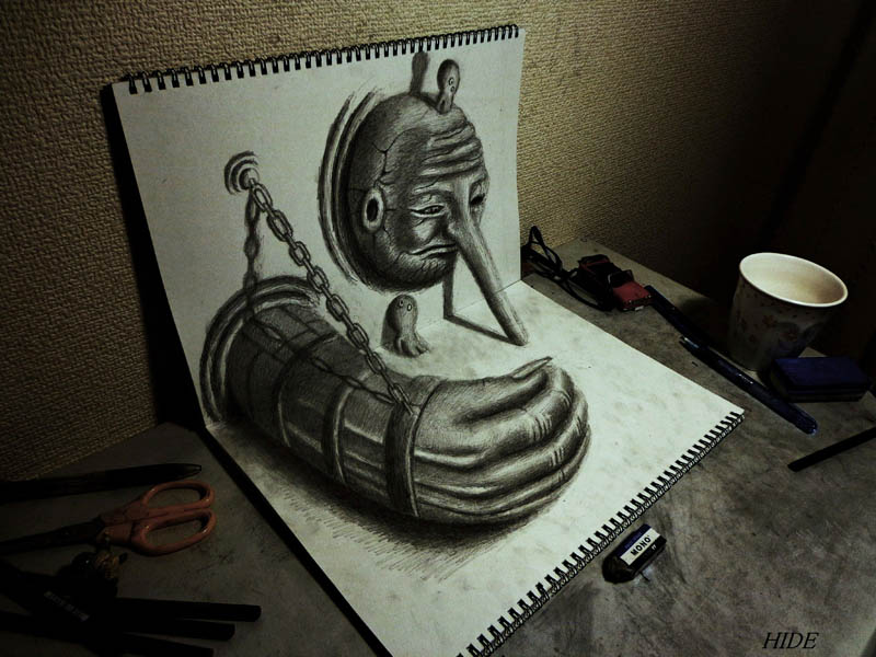 3d art with pencil on two sketchbooks
