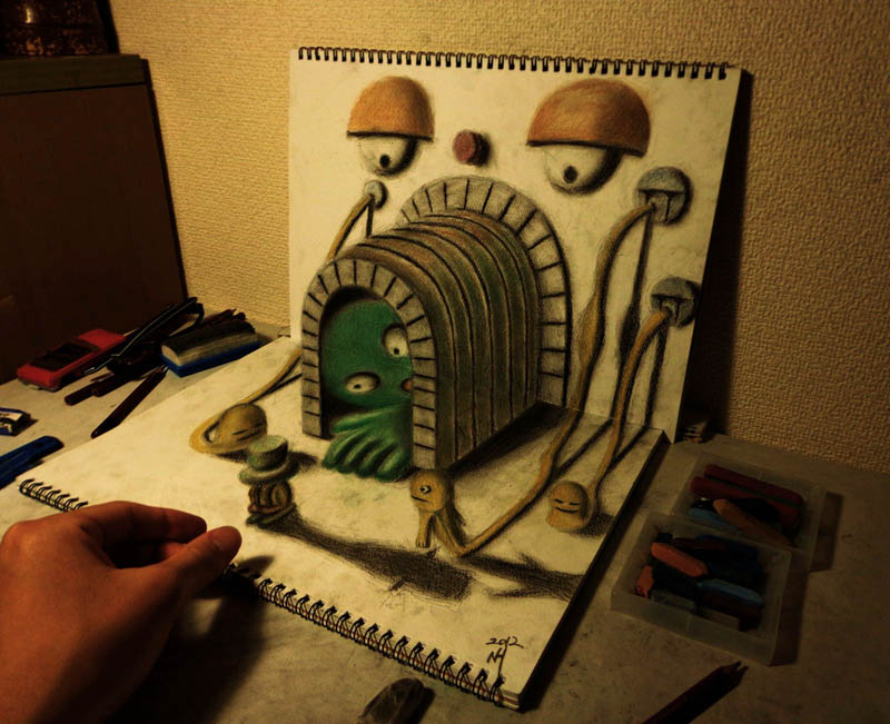 3d art with colored pencils