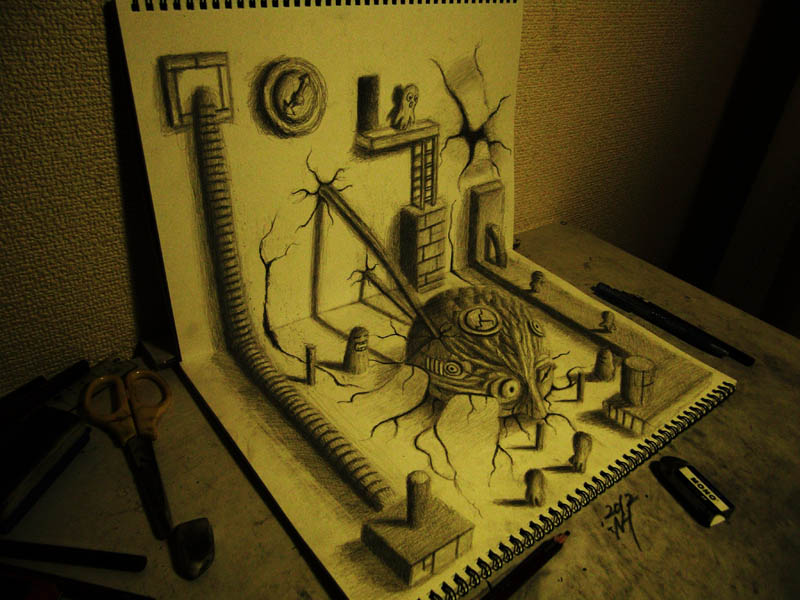 3d scene using only pencil and paper