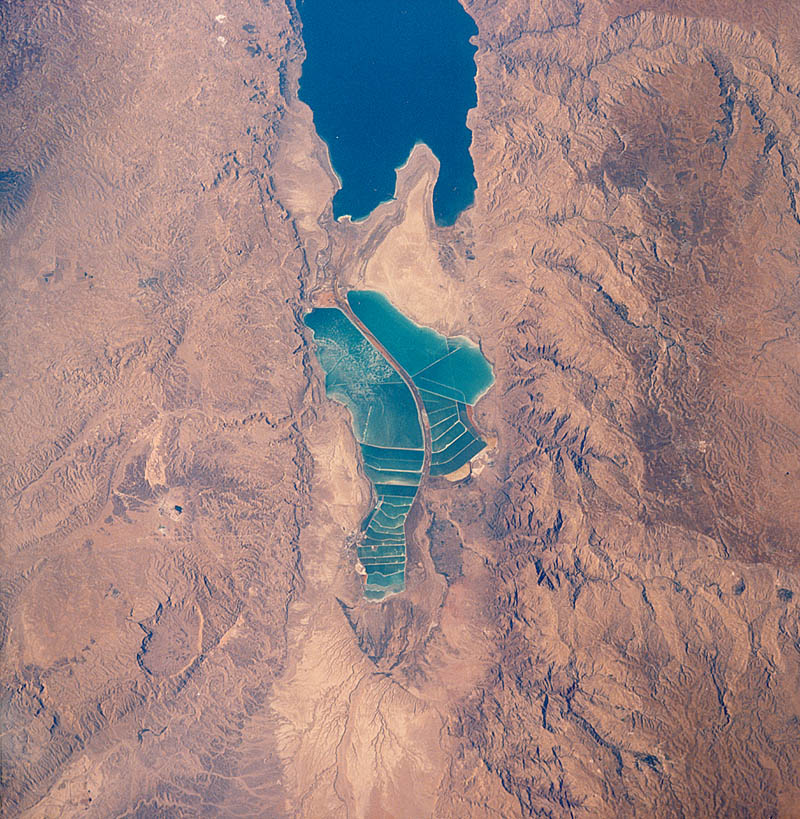 aerial satellite view of the dead sea from space by NASA
