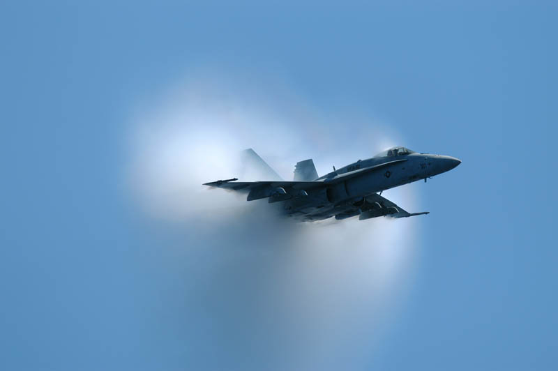 hornet doing a flyover at supersonic speed