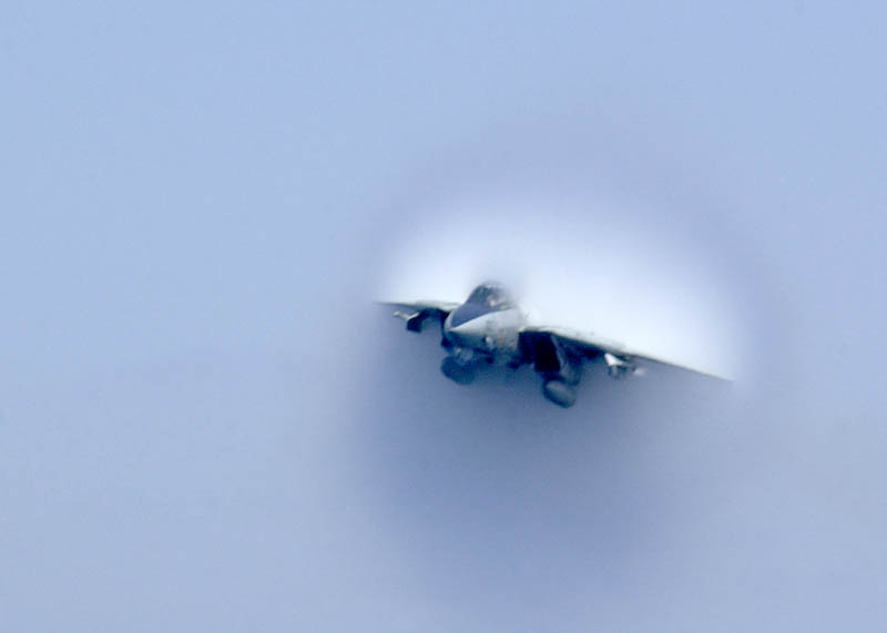 f14 tomcat going supersonic from the front view