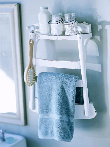use an old chair as bathroom towel rack and shelf