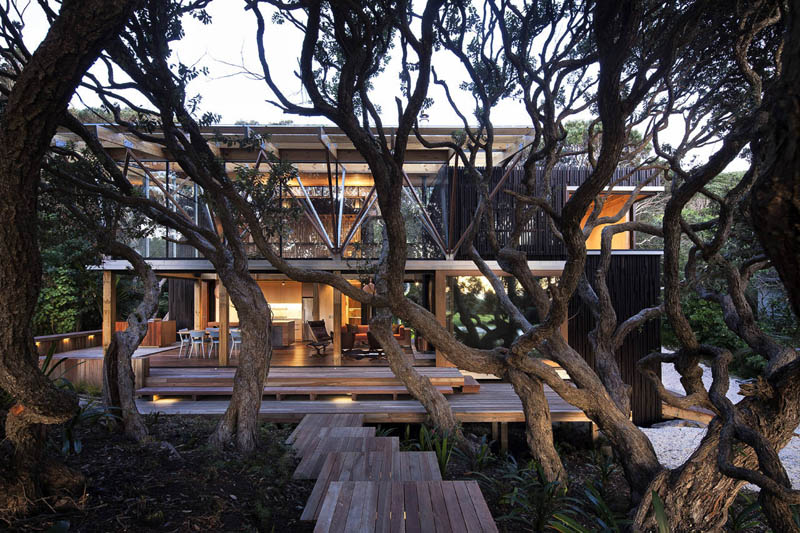 front of beach house in new zealand surrounded by mature trees