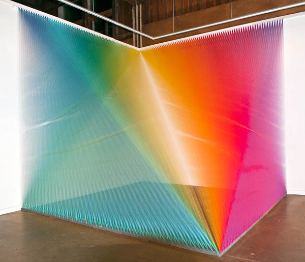 color thread art installation by gabriel dawe
