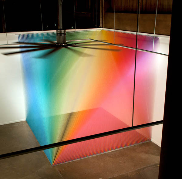 color spectrum with thread in corner of gallery
