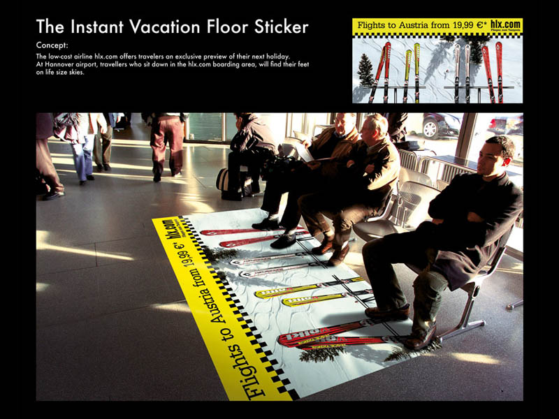 floor sticker of skis turns bench into chair lift