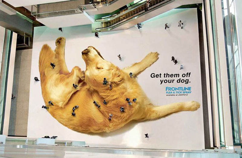 creative floor sticker ad giant dog people look like fleas ticks from above Football Club Removes Red from Jersey for Blood Donation Campaign