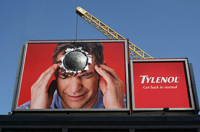 tylenol billboard with headache using big boulder