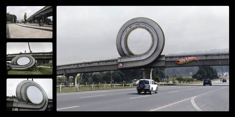 hot wheels billboard adds loop to highway