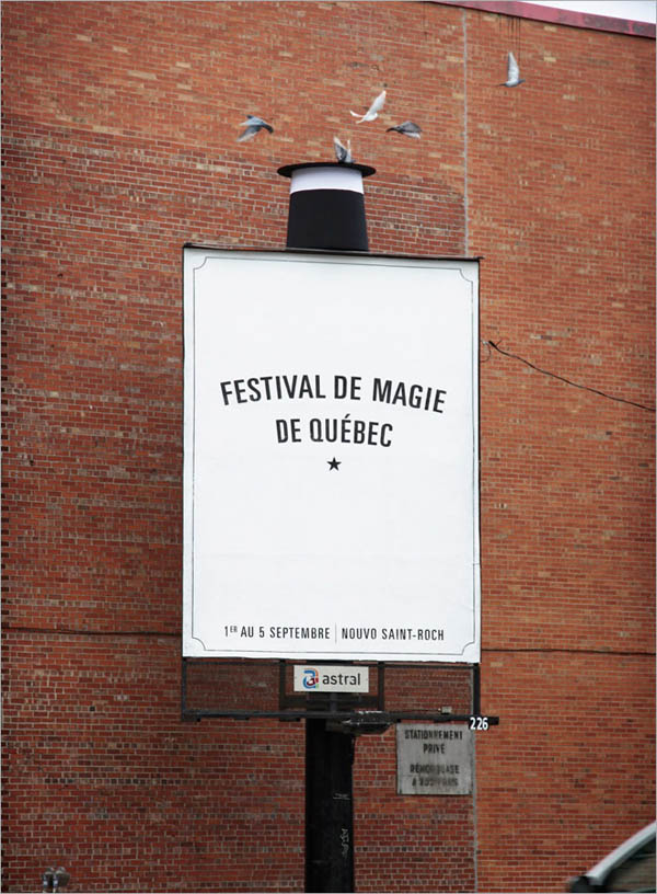 billboard for magic show with top hat and birds coming out of it