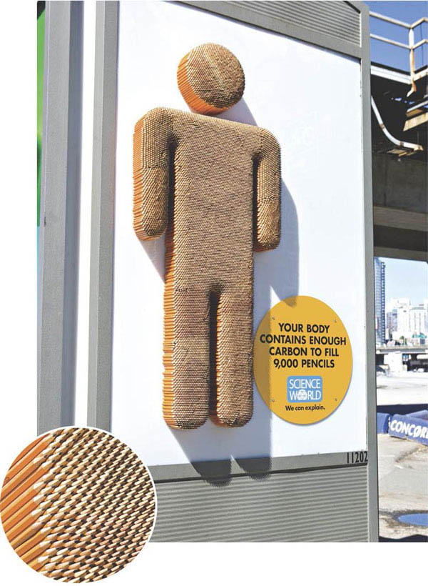 billboard made from pencils