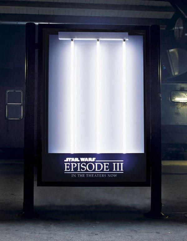 star wars episode three billboard with lightsabres