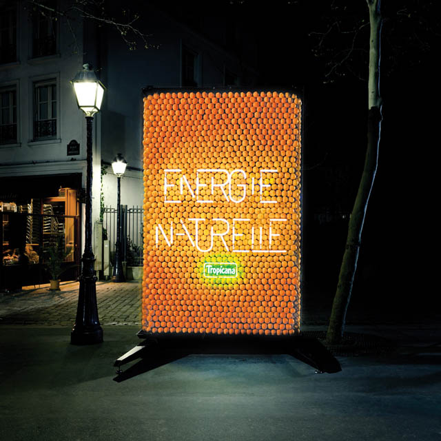 tropicana ad lit up by actual oranges