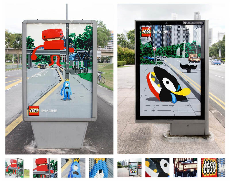 lego billboards made from actual lego pieces add creativity to landscape