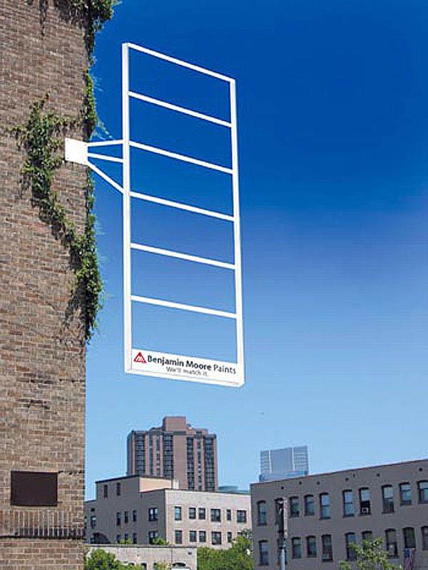 billboard looks like pantone chip card of blue sky behind