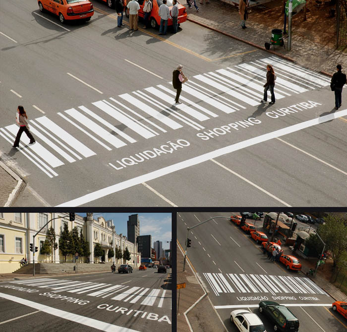 crosswalk section made to look like a barcode to promote a shopping mall