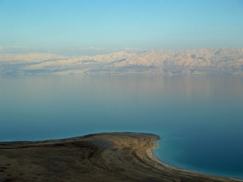 the dead sea as seen from above the shoreline