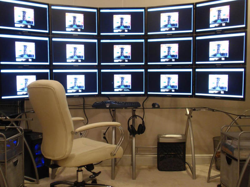 15 monitors three rows of five stacked eve player 15 accounts