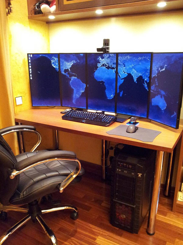 five portrait computer monitor workstation set up