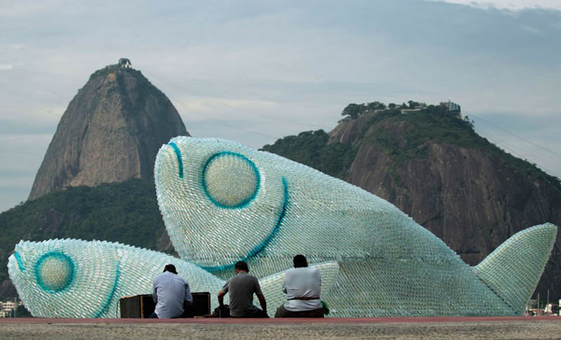 picture of one of three giant fishes made from discarded plastic bottles on botafogo beach in rio de janeiro brazil