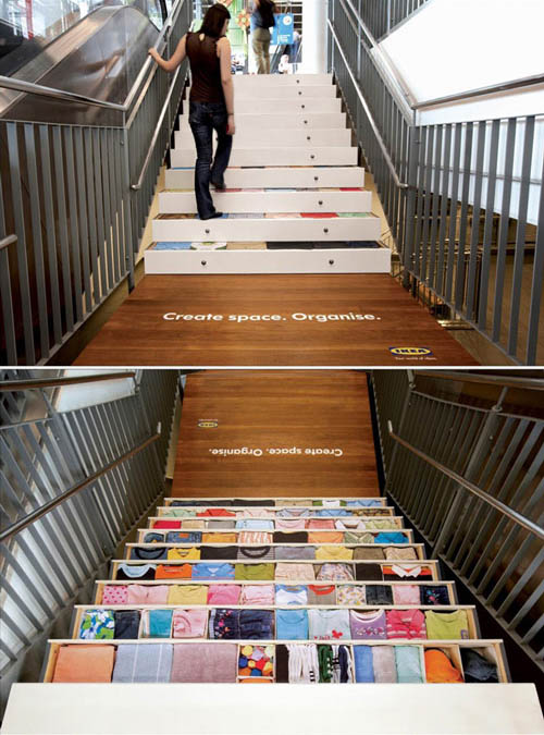 ikea stair sticker ad shoes each stair as a drawer filled with clothes