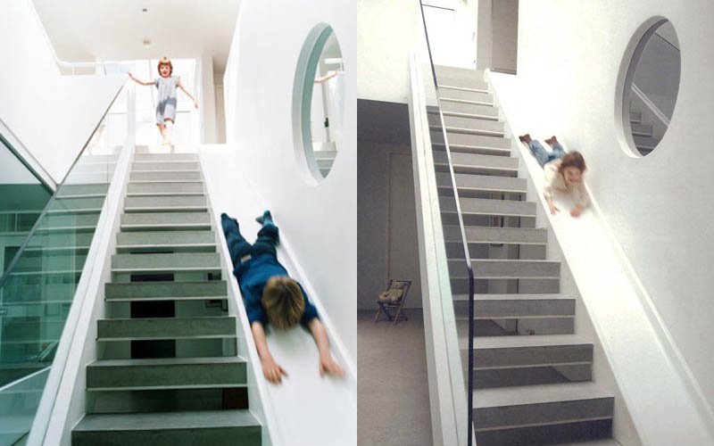 Attractive Indoor Staircase With Slide For Kids Right Beside It