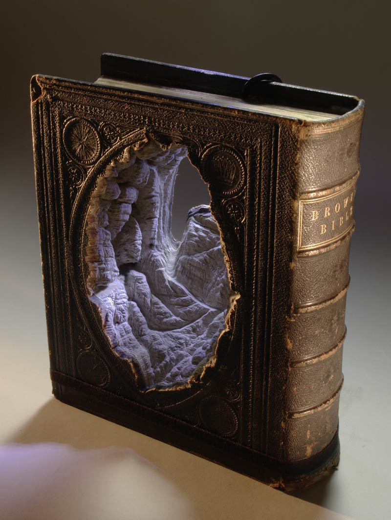 moutains carved into old book