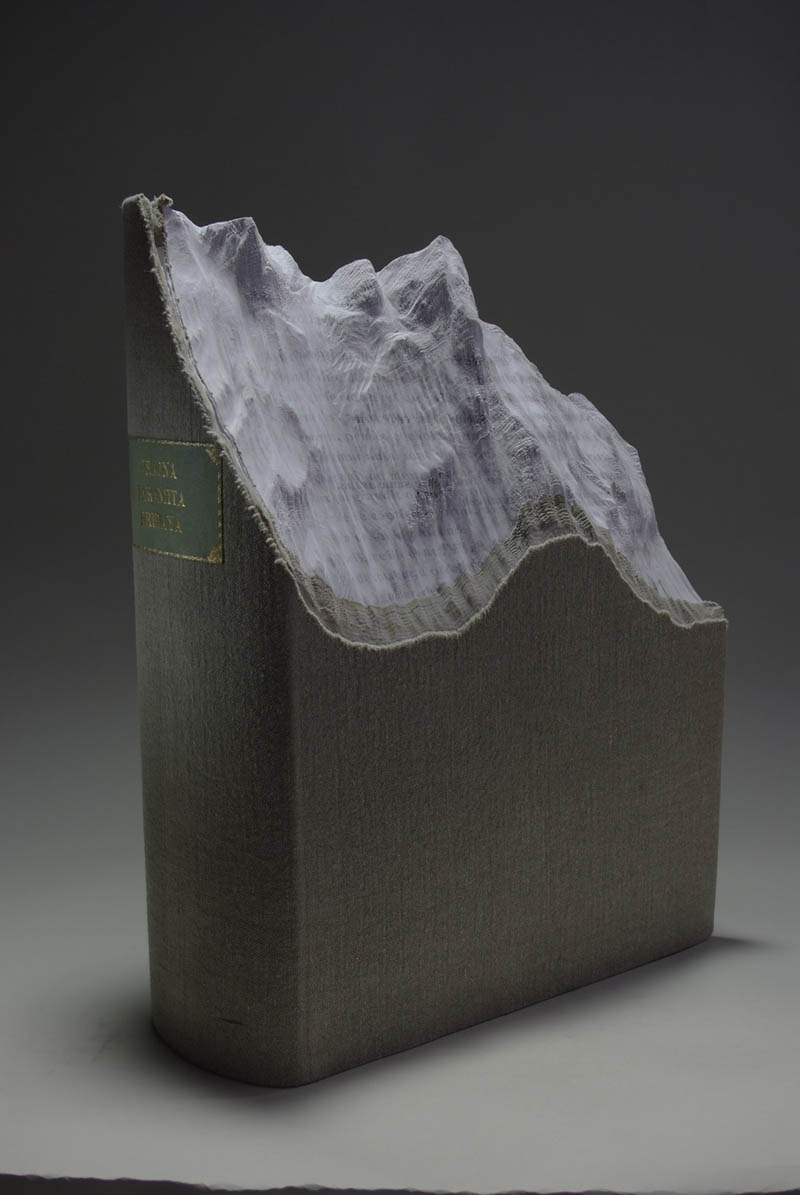 mountain side carved into front of book