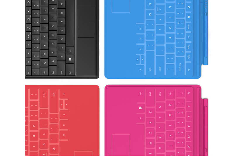 various touch cover keyboard colors for microsoft surface tablet