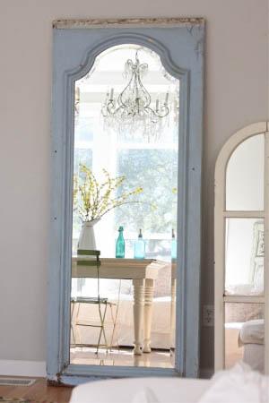 Attractive Old Door Frame Used As Standing Mirror