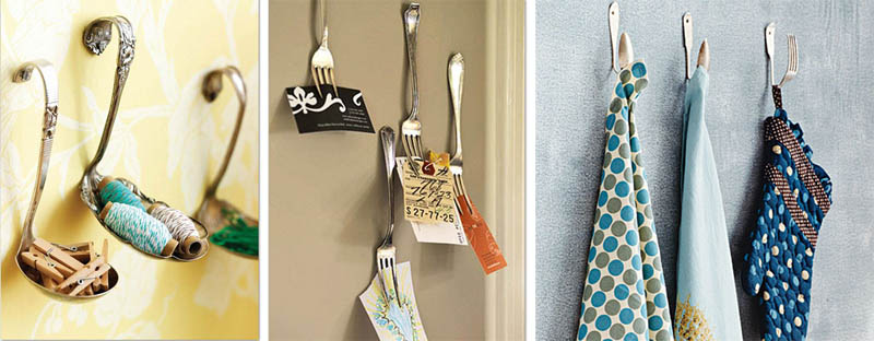 using old utensils as wall hooks