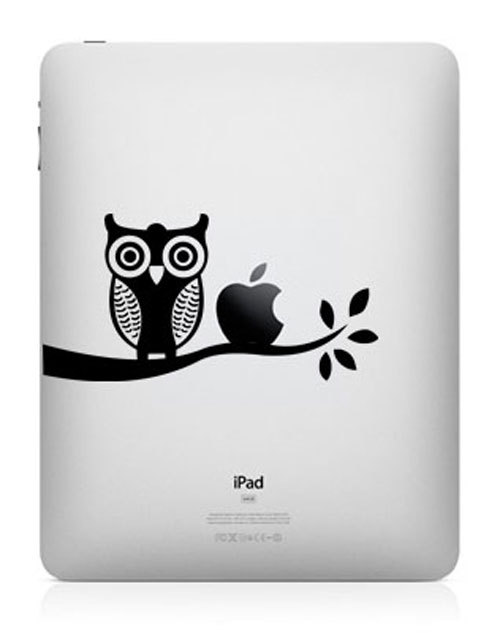 owl funny creative ipad decal 50 Creative MacBook Decals and Stickers