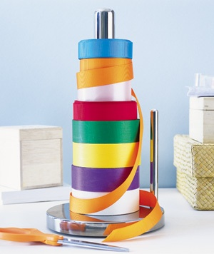 using paper towel holder a a ribbon holder
