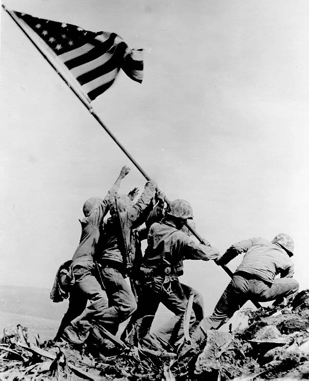 cropped famous photo showing us soldiers raising flag on iwo jima in ww2