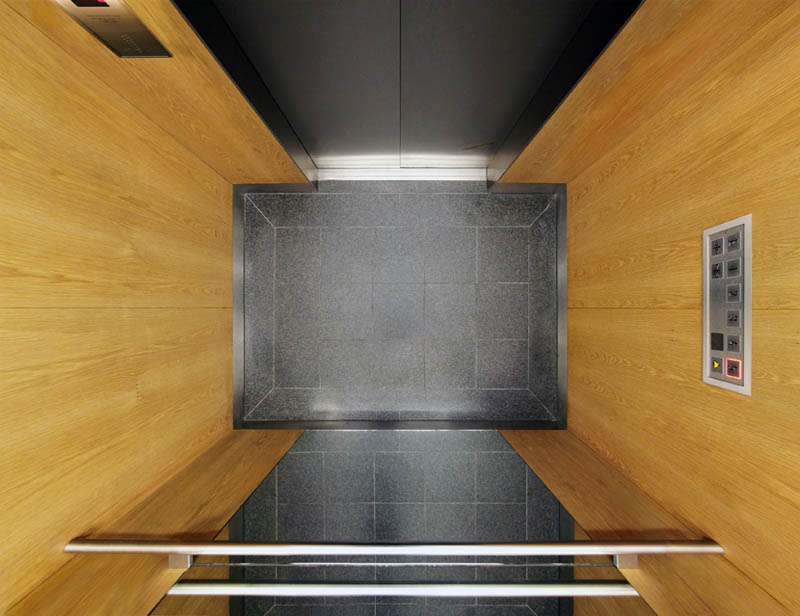view of an elevator from above looking down