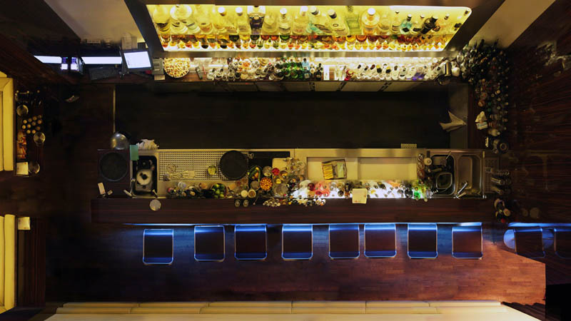 looking down on a bar from above