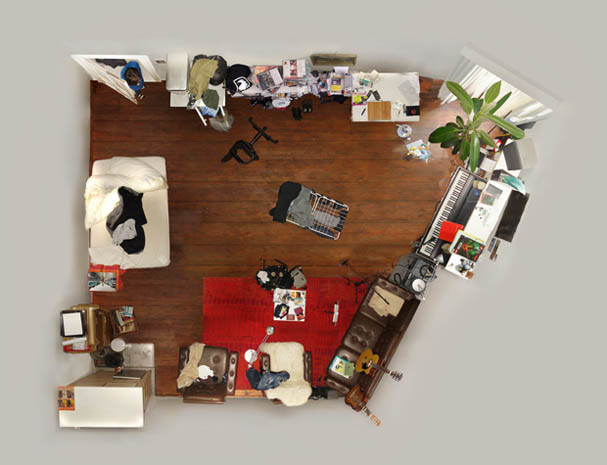bedroom as seen from above looking down