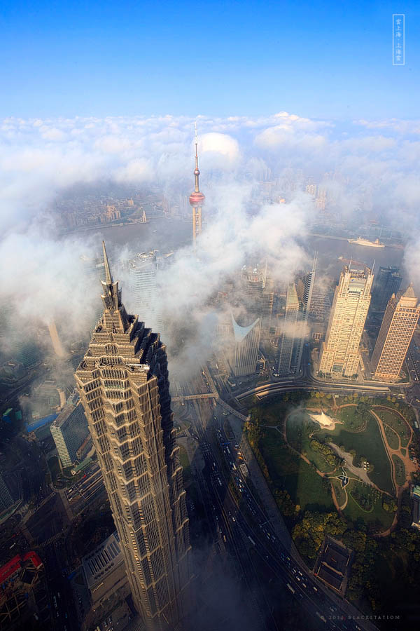jin mao tower and shanghai world financial center aerial