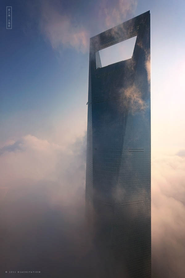 shanghai world financial center above the clouds