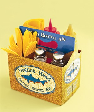 using six pack of beer case as condiment carrier