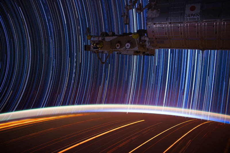 star trails seen from space iss nasa don pettit 15 21 Star Trails Captured from Space