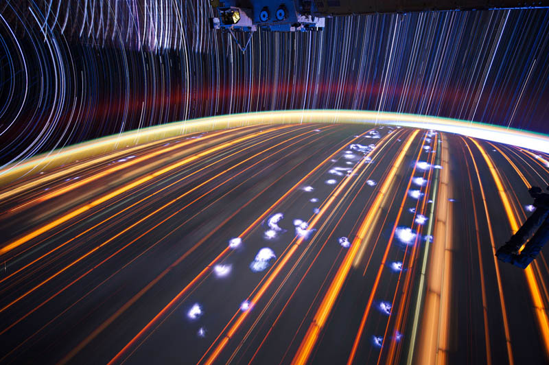 star trails seen from space iss nasa don pettit 16 21 Star Trails Captured from Space