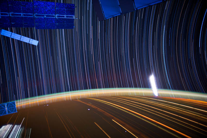 star trails seen from space iss nasa don pettit 19 21 Star Trails Captured from Space