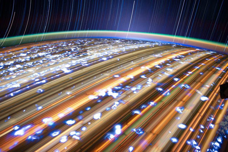star trails seen from space iss nasa don pettit 8 21 Star Trails Captured from Space