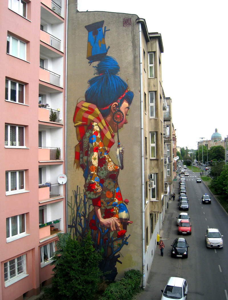 street art graffiti by sainer etam crew lodz poland mural Picture of the Day: Street Artist Sainer Goes Big in Poland